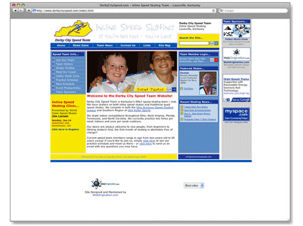 Derby City Speed Team Web Design Example