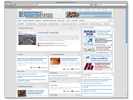 Kentuckiana Business Forum Web Design Example