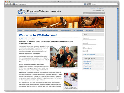 Kentuckiana Maintenance Associates Web Design Example