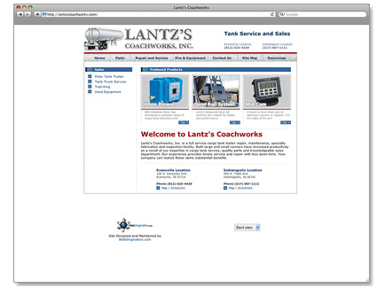 Lantzs Coach Works Web Design Example
