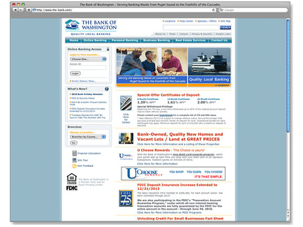 The Bank of Washington Web Design Example