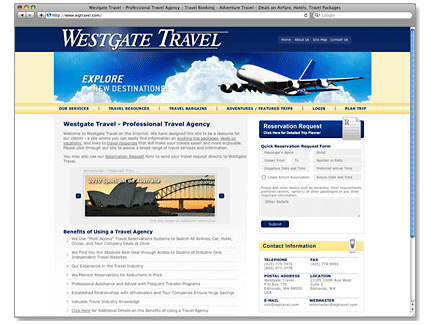 Westgate Travel Web Design Example