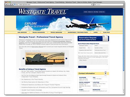 Westgate Travel Web Design Example